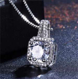 Diamond CZ Princess Halo Sterling Silver Necklace